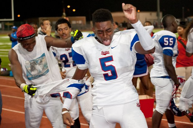 Serra star Jordan Lasley celebrates after the Cavaliers beat Oceanside Friday behind his three touchdown catches.