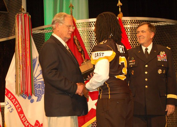 Ken Hall presents a trophy bearing his name each year at the U.S. Army All-American Bowl. He might be passing it along to Derrick Henry this season, the young man on pace to break his hallowed all-time record. This photo shows him giving the trophy to Demetrius Hart in 2011.