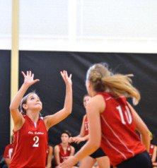 Kylee Kuntz (2) and Emily Palser (10), Otis volleyball.