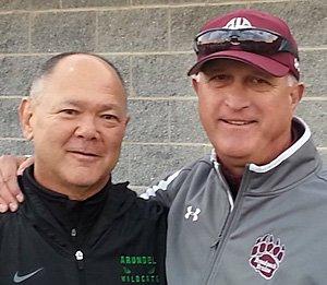 Chuck Markiewicz (left) with friend and Broadneck coach Jeff Herrick.