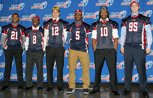 Big 10 recruits pose for a photo at the USA Football Signing Day ceremony at AT&T Stadium in Dallas.