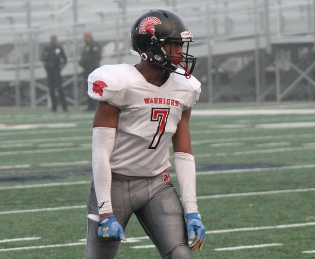 Bruce Walker Jr. excels on the football field for Southern California's St. Pius X-St. Matthias Academy. Walker lost his father when he was 13 and that loss has fueled his pursuit of excellence.
