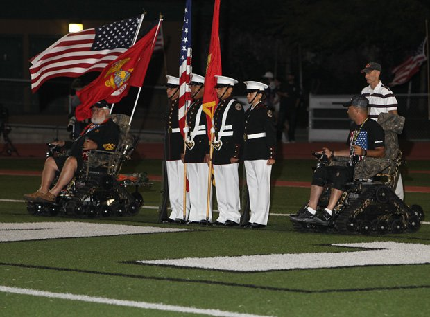 Military units are often happy to attend high school football games. Invite them to your games.