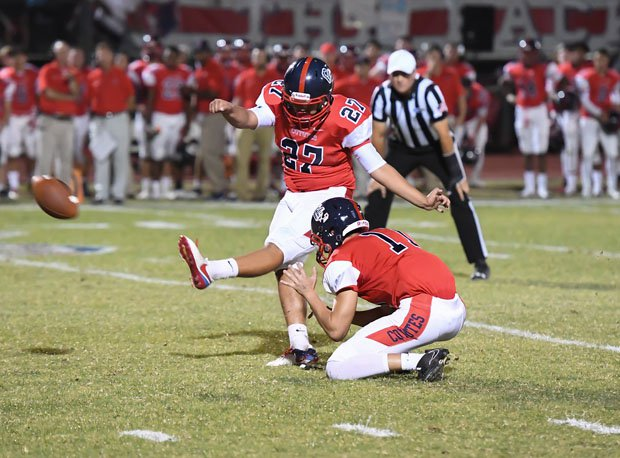 Xavier Rojas with one of his two field goals for Centennial.
