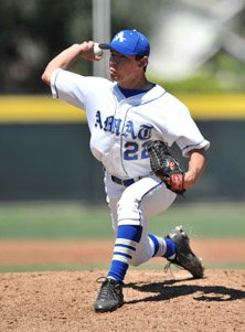 Brandon McNitt, shown here during his senior year at Bishop Amat in 2010,  is Stony Brook's No. 2 starter as  it opens first-round CWS play in  Omaha (Neb.) on Friday.