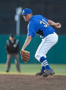 David Berg, shown here in a game pitching for Bishop Amat, is on the verge of breaking an appearances  record for UCLA.