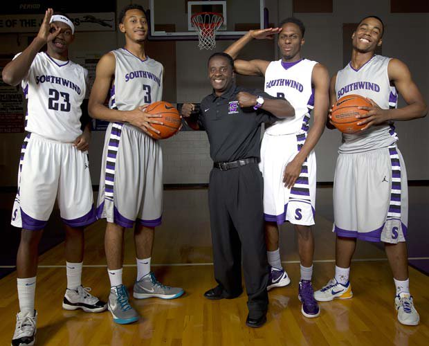 Southwind head coach Paul Edwards stands strong among a group of top returning players   for the Jaguars (left to right): JaJuan Johnson, Johnathan Williams III, Deckie Johnson and Payton Hulsey.