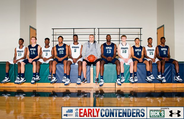 Head coach Brandon Clifford (middle) and his 2015-16 High Point Christian Academy players