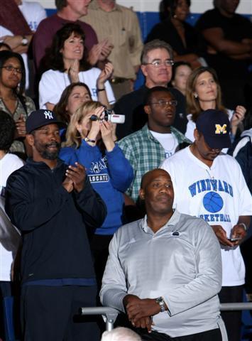 Denzel Washington (left) blends in with the Windward faithful.