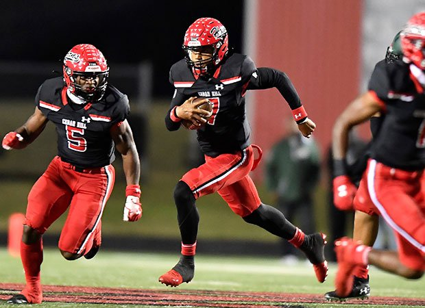Cedar Hill quarterback Kaidon Salter accounted for six touchdowns in his team's 49-42 victory over DeSoto on Friday night.