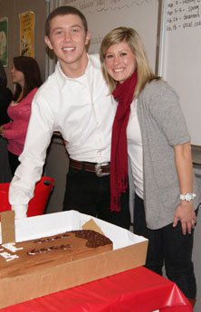 Scotty McCreery with choral director  Meredith Clayton in a sendoff for  the American Idol finalist.