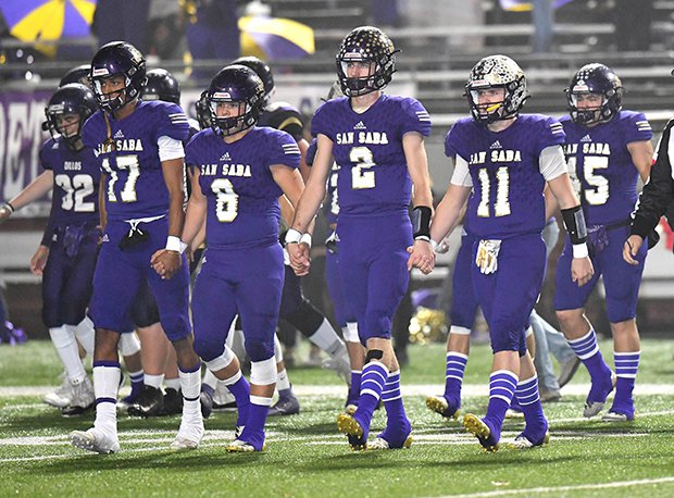 San Saba defensive back Logan Glover (#2) was all-state last season.