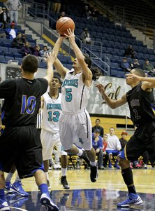 Wahied Emran shoots game-winning  jumper in Deer Valley's 55-54 win over Newark Memorial at Haas Pavilion on Monday.