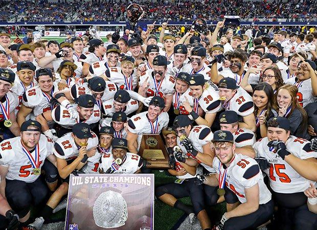 Aledo celebrates its record ninth Texas state championship.