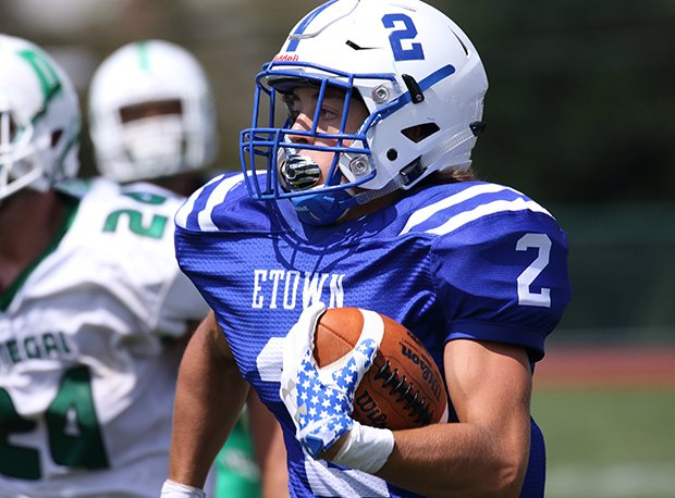 Elizabethtown (Pa.) receiver Cole Rice caught five passes for 224 yards and three touchdowns in a win over Dover (Pa.).