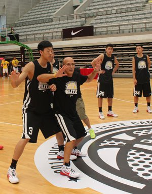 Coach Frank Allocco instructs the Chinese players how to block out.