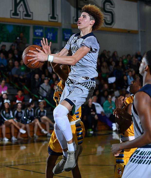 LaMelo Ball skies up for a shot Tuesday against Los Osos.