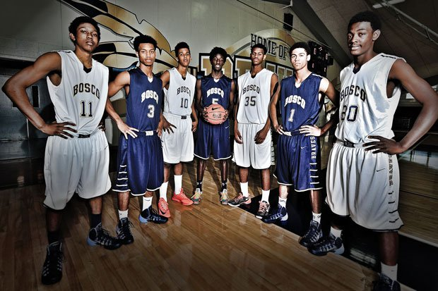 St. John Bosco hopes the collective talent of (from left to right) Rodney Henderson, Lorne Currie, Vance Jackson, Daniel Hamilton, Billy Preston, Tyler Dorsey and Joseph Tate can carry it past Mater Dei in the Trinity League.