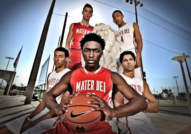 (Clockwise from front center) Stanley Johnson, M.J. Cage, Rex Pflueger, La'vette Parker and Mario Soto are looking to become the 10th Mater Dei team in a row to win 30 or more games.