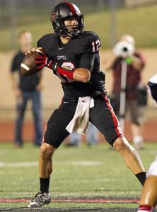 Coppell quarterback Colby Mahon had two touchdown passes in the victory.