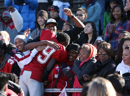 Receiver-defensive back Denzel Saulmy shared his celebration mood with Washington faithful.
