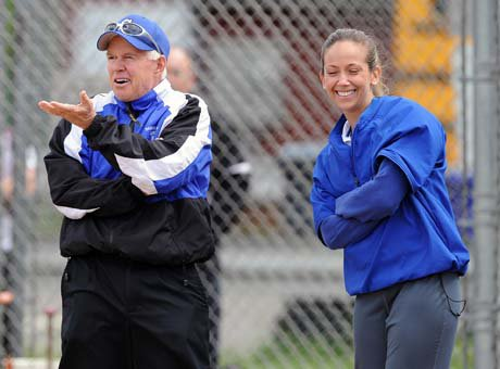 Davina Hernandez, right, took over the Southington softball program this season after veteran coach John Bores, left, retired. The Blue Knights haven't missed a beat, outscoring opponents by 86-2 through seven games.