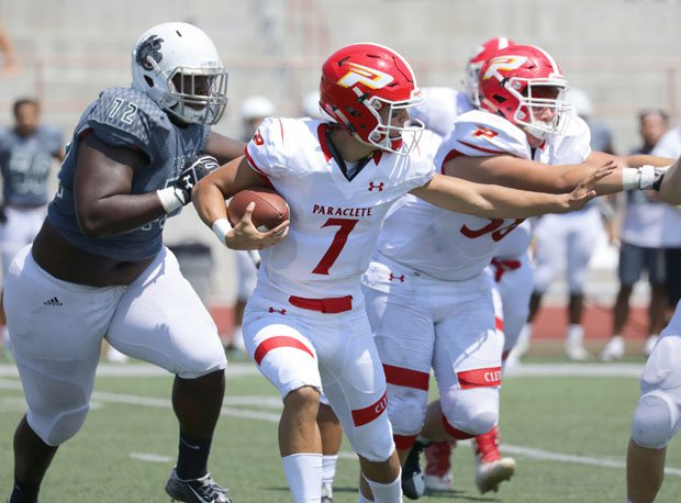Paraclete quarterback Brevin White (7) threw for 3,555 yards and 49 touchdowns in his first 12 games this season.