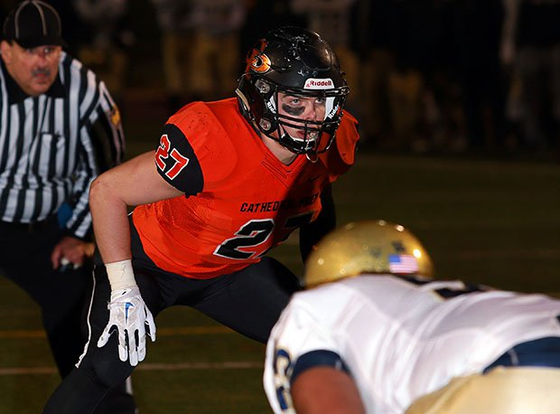 Cathedral Prep linebacker Matthew Bauer is committed to Notre Dame.