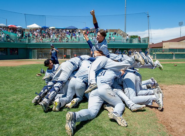 Elk Grove celebrates its third straight baseball section title.