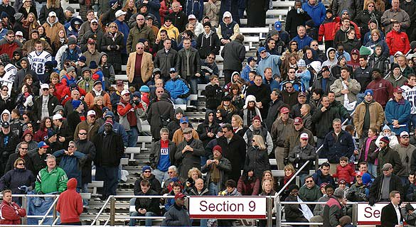 Crowds flock to the Xavier vs. Fordham Prep game on Thanksgiving day.