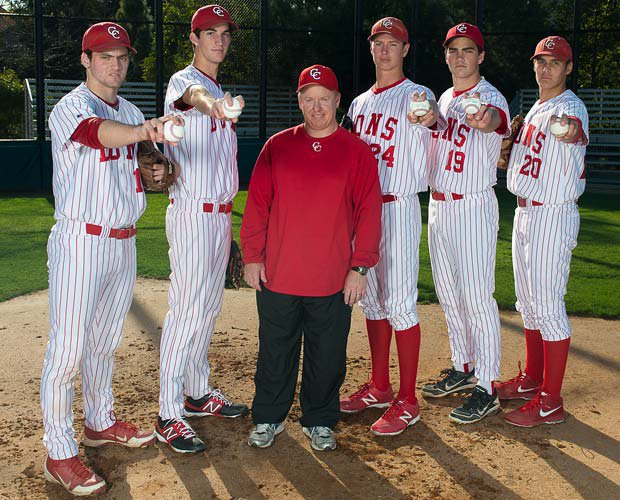 Five Cathedral Catholic pitchers and two position players have either signed or committed to Division I schools. Those five pitchers are shown with head coach coach Gary Remiker (left to right): Michael Martin, Alex Schick, Remiker, Stephen Gonsalves, Andrew Wright and Brady Aiken.