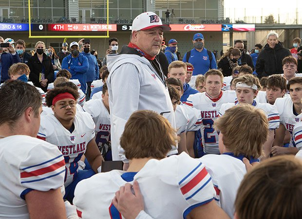 Westlake head coach Todd Dodge addresses his team following their upset over then-No. 2 North Shore on Saturday.