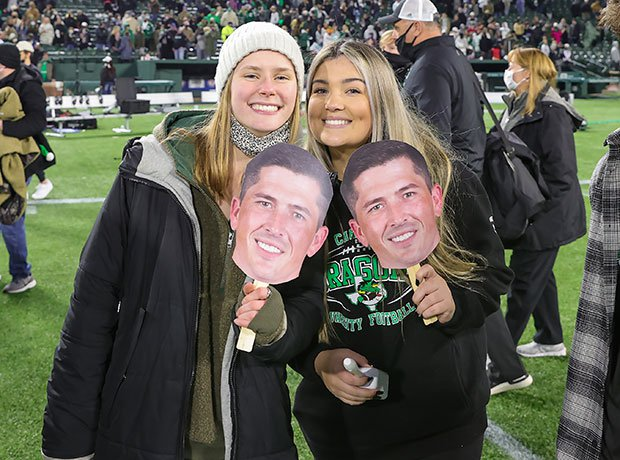 Southlake Carroll head coach Riley Dodge missed last week's semifinal victory over Duncanville due COVID but he was still represented by his fans.