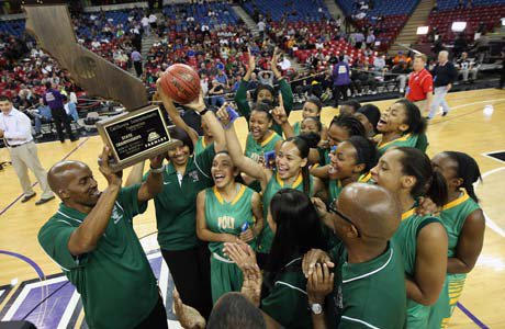 Long Beach Poly celebrates its fifth state title following a 46-28 win over Berkeley.