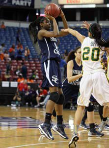 Kennedy Burke had game highs of 14  points and 16 rebounds.