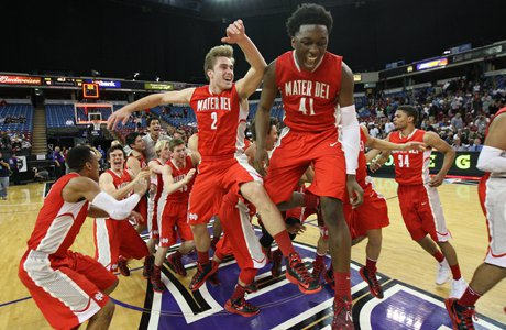 Mater Dei celebrates its third-straight state title after dispatching Archbishop Mitty Saturday at Sleep Train Arena.