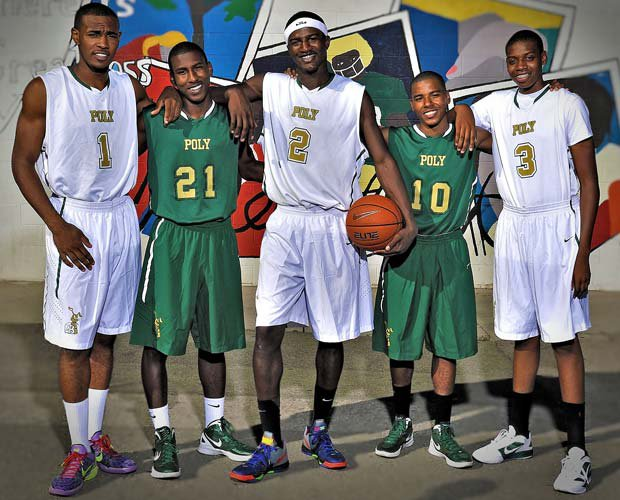 Long Beach Poly will be led this season by top players (left to right): Roschon Price, Brandon Staton, Jordan Bell, Ke'jhan Feagin and Kameron Chatman.
