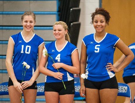 The volleyball season has been all smiles so far Bristol Eastern and seniors Beth Cucka, left, Jessica Hubina, center, and Karissa Smith.