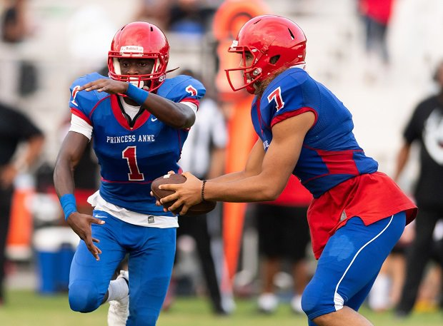 Princess Anne football player Tony Grimes (1) received an offer to play for Virginia Teach while in eighth grade. Now a sophomore, Grimes has landed many more FBS offers with two years still to play in high school.