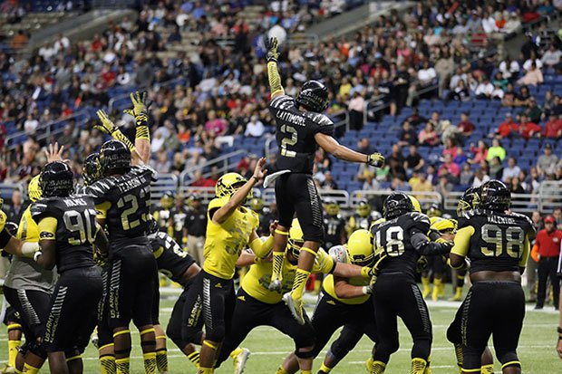 Marshon Lattimore jumps in an attempt to block a kick at the 2014 Army All-American Bowl.