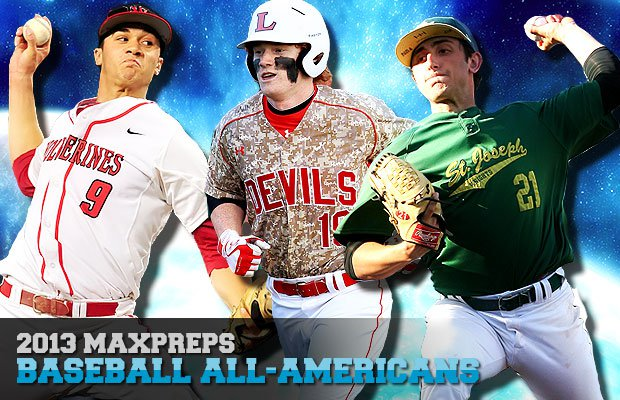 (Left to right) Harvard-Westlake's Jack Flaherty, Loganville's Clint Frazier and St. Joseph Regional's Rob Kaminsky lead the 2013 MaxPreps All-American Baseball Team.