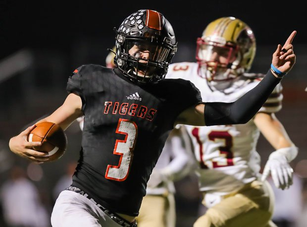 Quarterback Alex Berreth scores for Farmington in a game this season with Lakeville South. Farmington (6-1) was scheduled to play to play Totino-Grace Saturday in a 6A second-round playoff game. That game must now be moved to Thursday or Friday.
