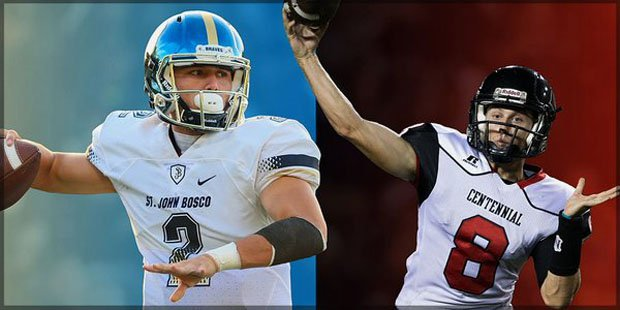 St. John Bosco quarterback Quentin Davis (left) and Centennial's Anthony Catalano (right).