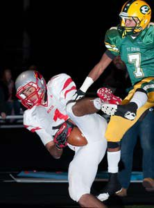Mentor receiver Brandon Fritts makes a leaping touchdown catch.