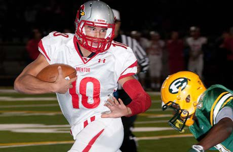 Mentor quarterback Mitch Trubisky accounted for 576 yards and six touchdowns on Saturday night in the playoff victory over St. Edward.