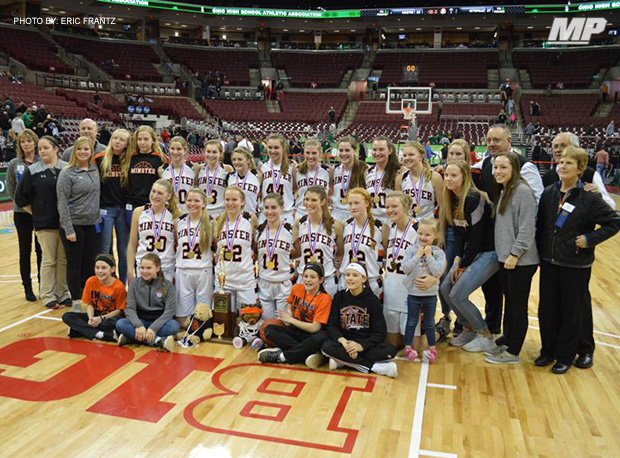 Minster won the 2019 OHSAA Division IV girls basketball state title, which was the program's fourth.