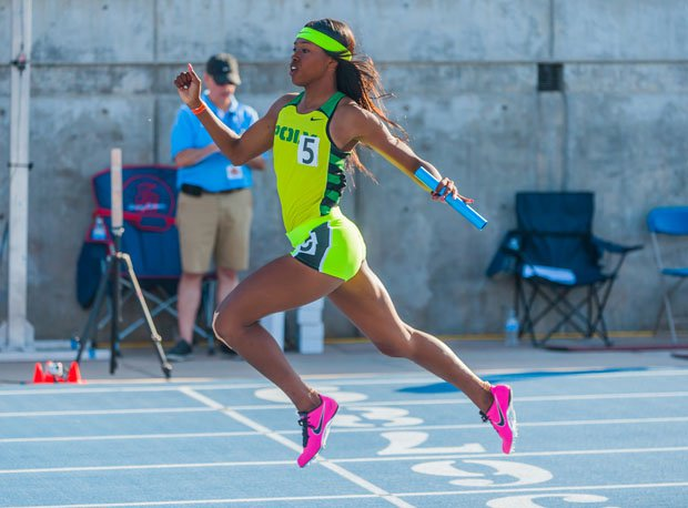 Washington finished as the 2014 national leader in the 100, 200 and 400 relay. She's headed to the University of Oregon next season.