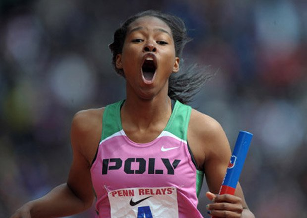 The expressive Washington responds at the 2012 Penn Relays after a relay victory.