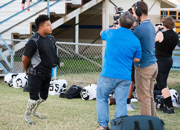Martell is interviewed by a videographer for MaxPreps.