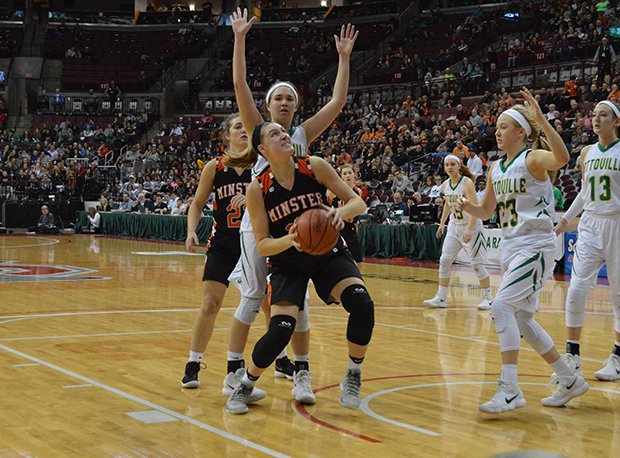 Minster senior Courtney Prenger (Xavier recruit) is looking to be a four-time first team All-Midwest Athletic Conference selection.